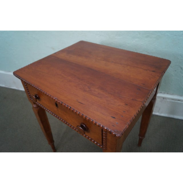 Image of Antique 19th Century Solid Cherry End Tables -Pair