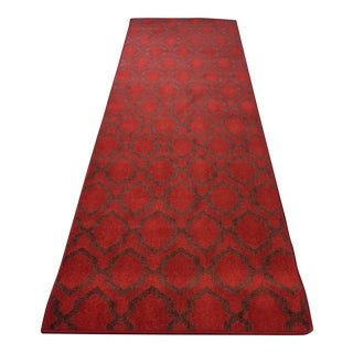 Red & Brown Patterned Runner - 3′6″ × 11′6″