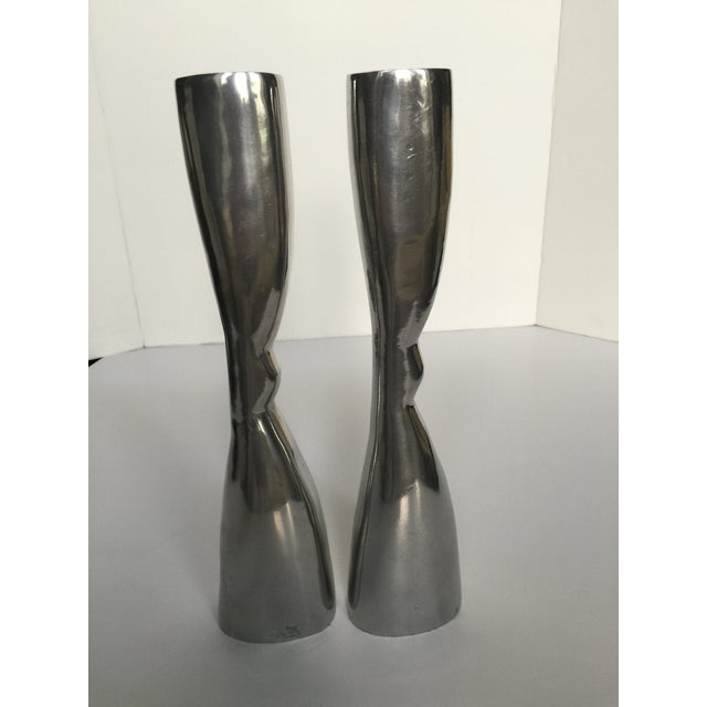 Modern Pewter Candlesticks - A Pair - Image 3 of 4