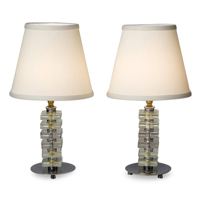 Image of 1930s French Stacked Glass Boudoir Table Lamps - 2