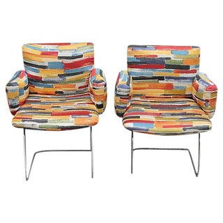 Mod Chairs with Colorful Upholstery - A Pair