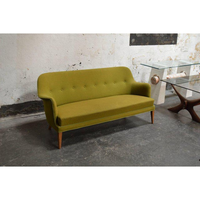Mid-Century Scandinavian Modern Green Tweed Sofa in the Style of Carl Malmsten - Image 3 of 6
