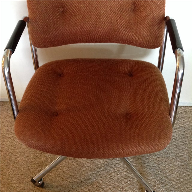 Vintage Orange Tweed Steelcase Office Chair - Image 4 of 9