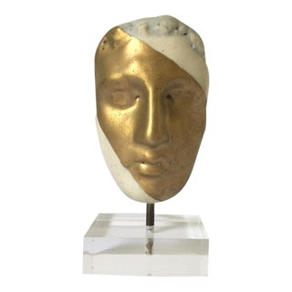 Modern Gold & White Head Figurine on Lucite Stand, Quite Glam