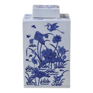 Square Blue & White Lidded Jar