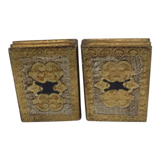 Vintage Italian Florentine Gold Hinged Bookends - a Pair