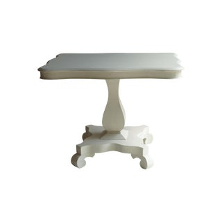 Antique Strie Painted Empire White Side Table