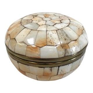 Vintage Tessellated Bone Over Brass Trinket Box