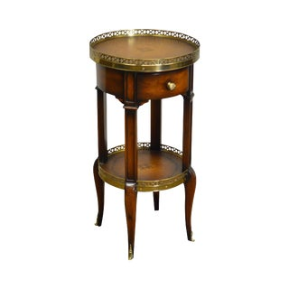 Theodore Alexander Round Leather Top Louis XVI Style Occasional Table