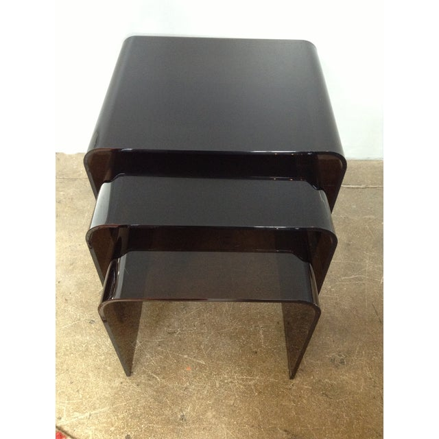 Image of Smoked Acrylic Nesting Waterfall Tables - Set of 3