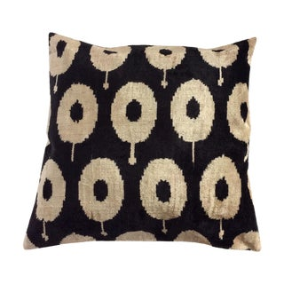 Black And White Silk And Velvet Ikat Pillow