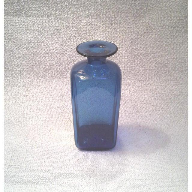 Mid-Century Blue Bottle Vase - Image 4 of 4