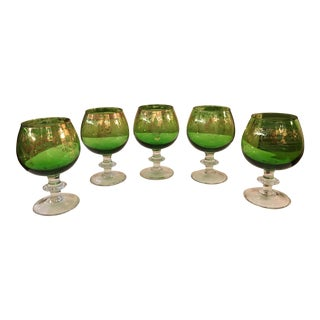 Mid-Century Modern Emerald Green Goblets - Set of 5