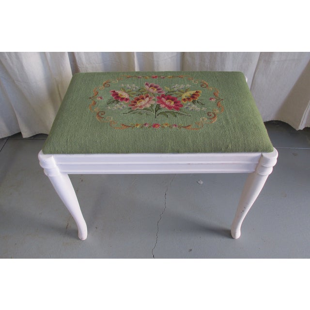 Image of Green & Pink Tapestry Bench