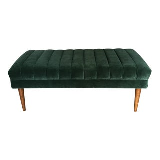 Green Velvet Channel Bench