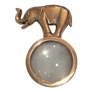 Brass Elephant Magnifying Glass Paper Weight