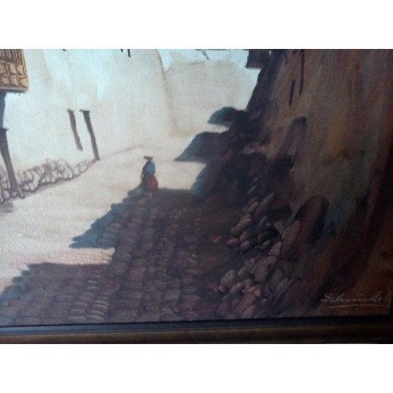 Vintage Peruvian Street Scene Oil Painting - Image 3 of 5