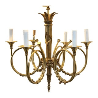 Delightful Vintage Brass French Horn Chandelier