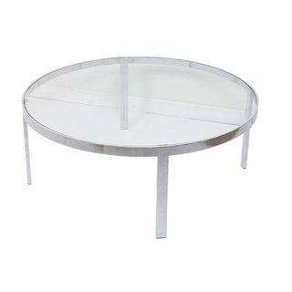 Milo Baughman Glass & Chrome Round Coffee Table