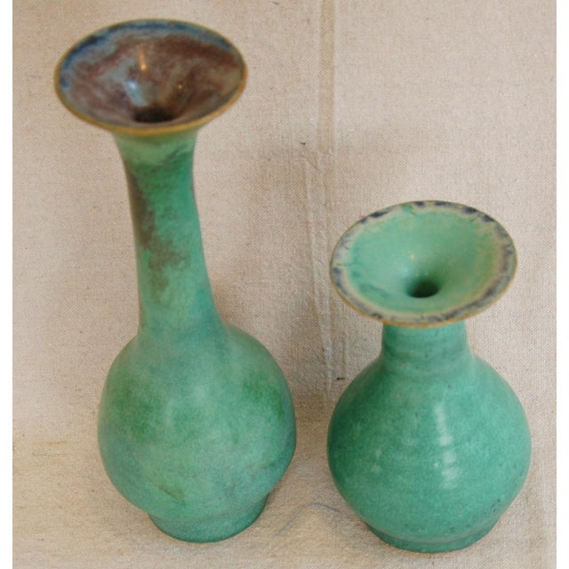 Mid-Century Studio Art Green Pottery Bud Vases - Set of 2 - Image 3 of 8