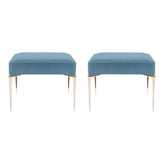 Colette Brass Ottomans in Denim Blue Velvet by Montage, Pair