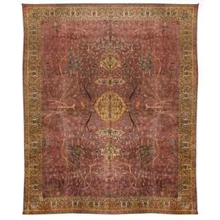 Antique Oversize Early 20th Century Indian Carpet