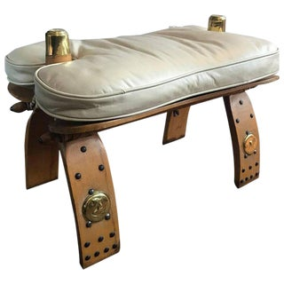 Unique Egyptian Camel Bench or Ottoman Creme Colored Leather Seat