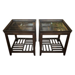 Lattice Shelf Cube Side Tables- A Pair