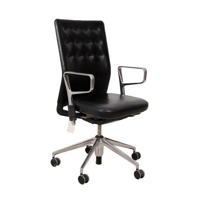 Vitra Italian Black Leather Swivel Desk Chair - Image 1 of 9