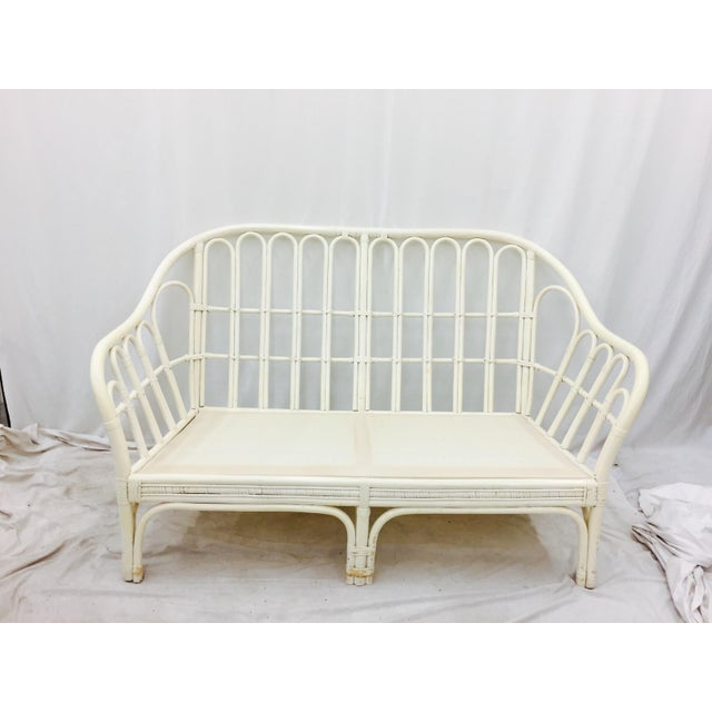 Vintage Rattan Love Seat Sofa - Image 3 of 9