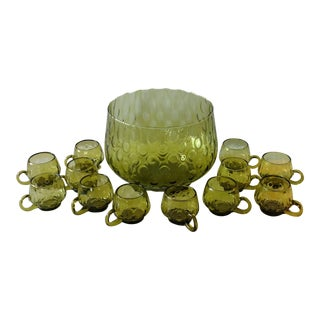 Mid-Century Green Glass Punch Bowl Set