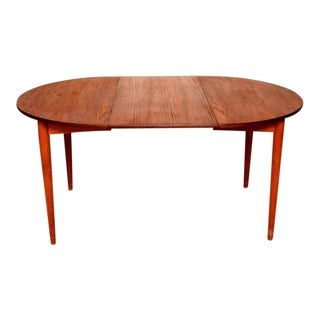 Danish Modern Teak Round Oval Dining Table