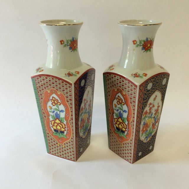 Chinoiserie Style Square Vases - A Pair - Image 4 of 10