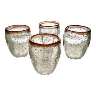 Hand Blown Controlled Bubble Bulicante Rocks Glasses Signed by Michael Egan - Set of 4