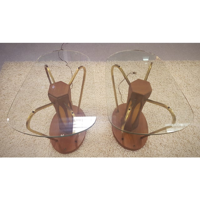 Mid-Century Brass & Glass Lighted Side Tables - Image 2 of 10