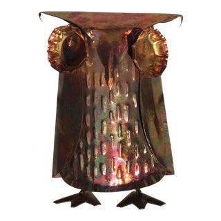 Brutalist Metal Owl Sculpture