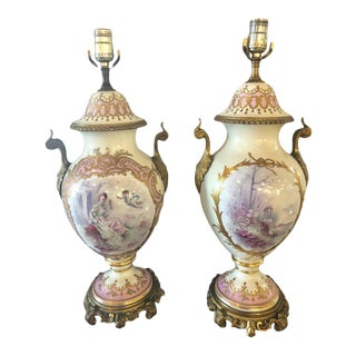 Bronze Mounted French Porcelain Serves Urns Converted into Table Lamps - a Pair