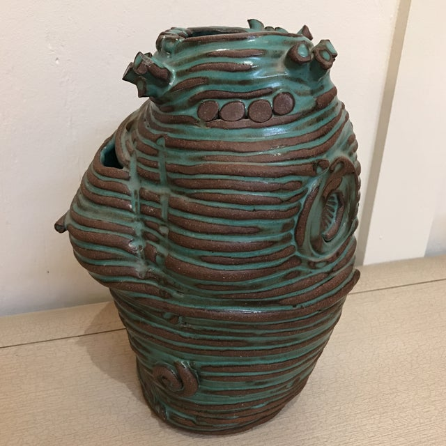 Turquoise Coiled Ceramic Vase - Image 4 of 9