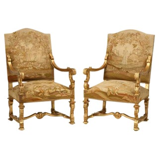 Circa 1900 French Gilded Throne Chairs - A Pair