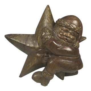 Hand Carved Wood Santa Claus On Star