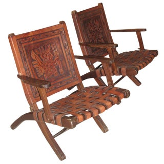 Embossed Leather Folding Armchairs - A Pair