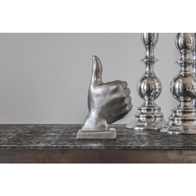 Silver Thumbs Up Hand Symbol Sculpture - Image 5 of 7