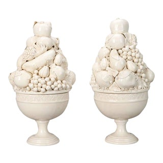 Italian Glazed White Porcelain Lidded Pedestal Fruit Bowls - A Pair