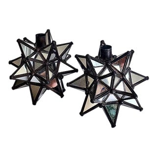 Multi Faceted Mirrored Candle Holders - Pair