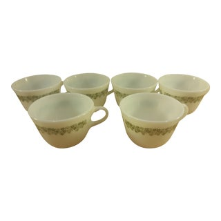 Pyrex Crazy Daisy Milk Glass Coffee Mugs- Set of 6