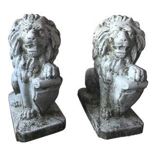 Stone Lion Garden Statues - a Pair