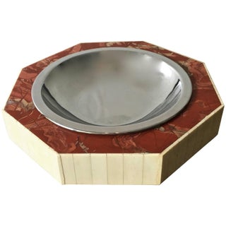 Monumental Red Marble And Bone Tabletop Dish