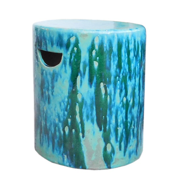 Ceramic Turquoise Green Round Garden Stool - Image 4 of 6
