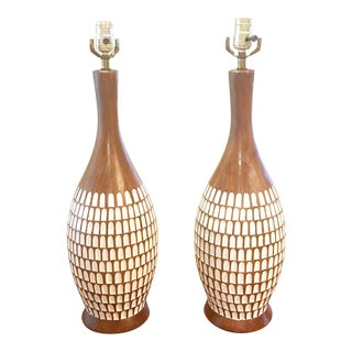 Mid-Century Chalkware Table Lamps - A Pair