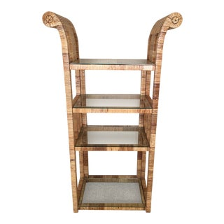 Billy Baldwin Style Wrapped Rattan Etagere
